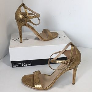Via Spiga Gold Metallic Lizard Print Sandals